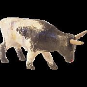 Vintage Folk Art Black & White Bull Carving