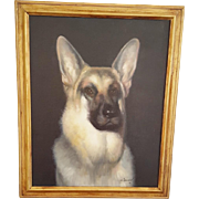 """Vintage Framed Painting of German Shepherd Signed """"S. Afsary"""""""