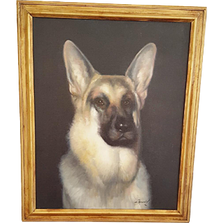 "Vintage Framed Painting of German Shepherd Signed ""S. Afsary"""