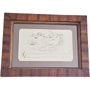 Dated 1882 Calligraphy Bird Drawing With Humorous Writing & Faux Painted Frame