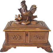 Antique Folk Art Black Forest Carved Box With Rooster Chasing Pullet