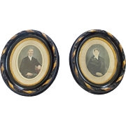 Pair of 19th C. Victorian Framed Portraits of Older Couple in Ebony & Gold Gilt Frames