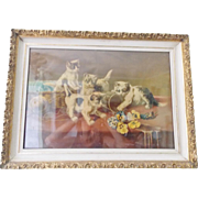 Antique Victorian Print of 4 Mischievous Kittens in Old Frame