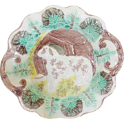 Antique Majolica Pottery Dog and Dog House Plate