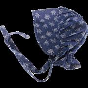 Vintage Primitive Blue and White Floral Calico Prairie Bonnet