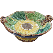 Mint Condition Antique Majolica Pottery Sunflower Design Compote