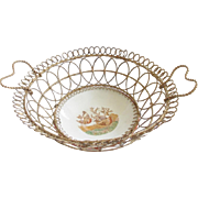 19th C. Make-Do Wire & Colibri Porcelain Bread  Basket With Heart Handles