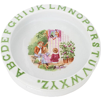 Vintage Child's Ironstone Alphabet Dish With Puppet Show Design
