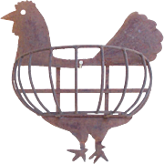 Primitive Folk Art Cut Iron Rooster Planter