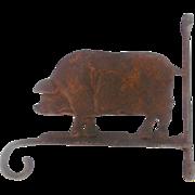 Vintage Primitive Cast Iron Pig Form Plant Hanger