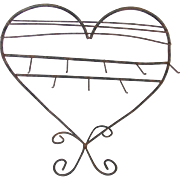 Vintage Primitive Hand Wrought Iron Folk Art Heart Shaped Table Top Display Rack
