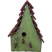Primitive Folk Art 3-Perch Apple Green and Barn Red Painted Birdhouse