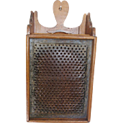 Vintage Primitive Folk Art Wall Hung Food Grater with Heart Shaped Top