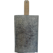 Vintage Large Hand Made Super Primitive Galvanized Metal & Wood Food Grater