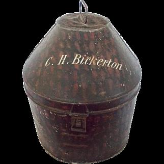 19th C. English Military Painted Metal Hat Box of C.H. Bickerton