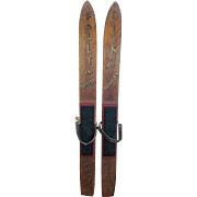 """Rare Pair 1930's-40's Maine """"Sno-Wing"""" Child's Skis Personalized for Dick & Polly"""