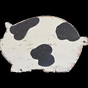 Vintage Primitive Folk Art Black & White Pig Cutting Board