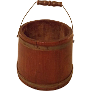 Late 19th C. Primitive Wood Bucket With Wire & Wood Bail Handle