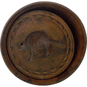 Vintage Primitive Folk Art Beaver Design Butter Print Mold