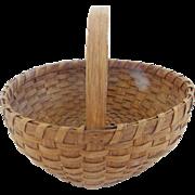 "Large 12"" Diamter Late 19th C. Primitive Folk Art Oak Splint Round Gathering Basket"