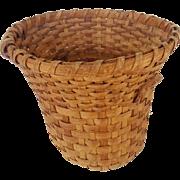 Unusual Early 1900's Primitive Folk Art Bell Shaped Oak Splint Gathering Basket