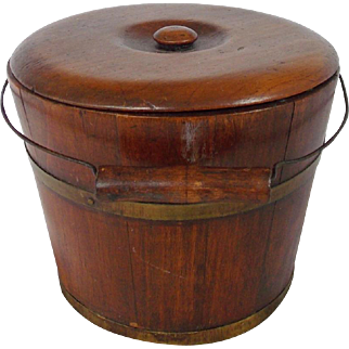 Rare 19th C. Primitive Folk Art Staved Wood Berry Bucket With Original Lid