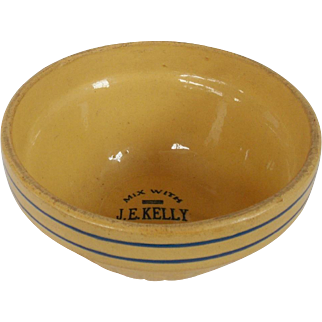 Vintage #2 Size Yelloware Bowl Dated 1937 With Advertising