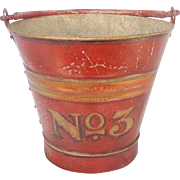 "Early 1900'S Primitive Connecticut  Folk Art Painted Metal  ""No. 3"" Fire Bucket"