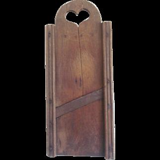 Antique C. 1860's PA. Primitive Folk Art Tombstone Slaw Board Kraut Cutter With Heart Cutout