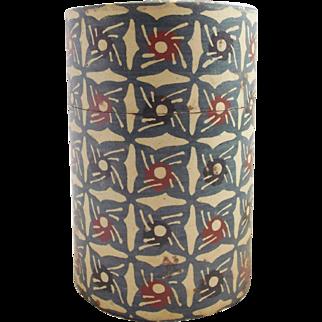 Vintage Primitive Folk Art Tin Wallpaper Covered Tea Caddy