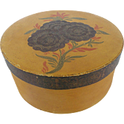 Antique C. 1848 Primitive Folk Art Pantry Box in Mustard Paint With Floral Decoration