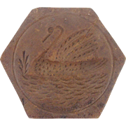 Antique Hexagon Shaped Swan Butter or Cookie Print Stamp