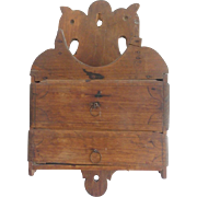 Antique Primitive Folk Art Double Horse Head 2-Drawer Wall Box From My Collection
