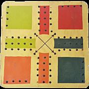 Vintage Primitive Folk Art Polychrome Painted Aggravation Game Board