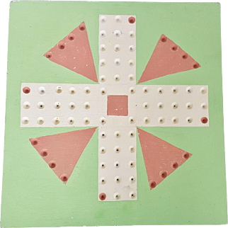 Graphic Vintage Primitive Folk Art Spring Green & Salmon Painted Aggravation Game Board