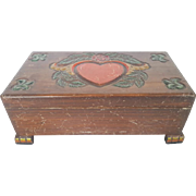 Vintage Primitive Folk Art Lift-Top Box With Hand Carved & Painted Heart & Flower