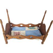 Early 1900's Primitive Folk Art 4-Poster Doll Bed with Vintage Child's Crib Quilt Top