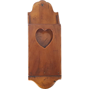 Antique Primitive Folk Art Tapered Wall Box With Heart Cut-Out