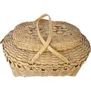 Turn of 20th C.. Northeast Native American Covered Double-Swing Handle Basket