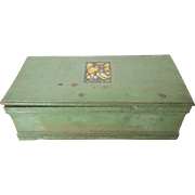 Vintage Primitive Green Painted Box with 1920's Duck Decal