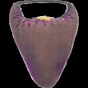 Late 19th C. Primitive Folk Art Purple Velvet Pin Cushion