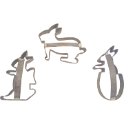 Rare Set of 3 Early 1900's PA. Folk Art Easter Rabbit Cookie Cutters