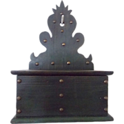 Vintage Primitive Scroll Work Green Painted Wall Hung Candle Box