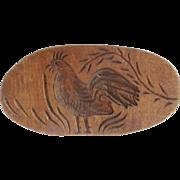Vintage Primitive Folk Art Rooster Butter Print With Porcelain Handle