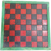 Vintage Primitive Folk Art Double-Sided Checkers Game Board