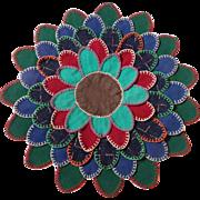 Vintage Primitive Folk Art Wool Flower Design Lamb's Tongue Penny Rug Table Mat