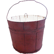 Vintage Super Primitive Red & White Painted Wooden Staved Bucket