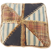 Late 19th C. Primitive Folk Art Pinwheel Design Pin Cushion