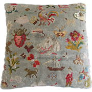 Antique Sampler Pin Cushion With Images of African American Children Playing From My Collection
