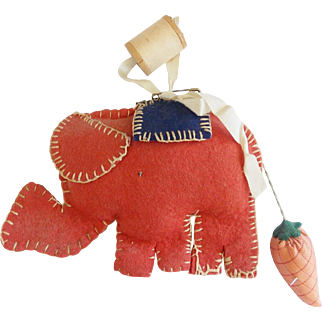 Vintage Folk Art Elephant Pin Cushion With Strawberry Emery Tail From My Collection